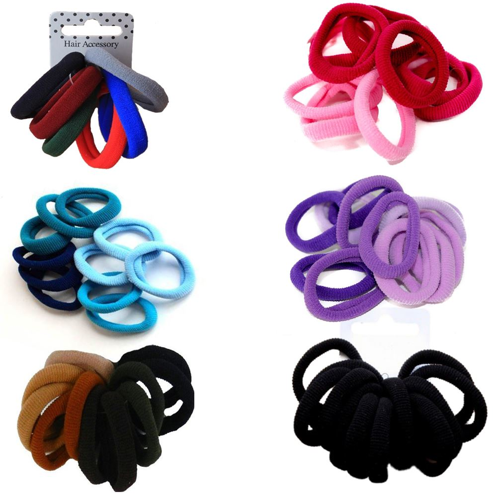 Details about 12 Soft Endless Fabric Hair Elastics Ponios Bands Snag Free  Various Colours 963a0d8c1f4
