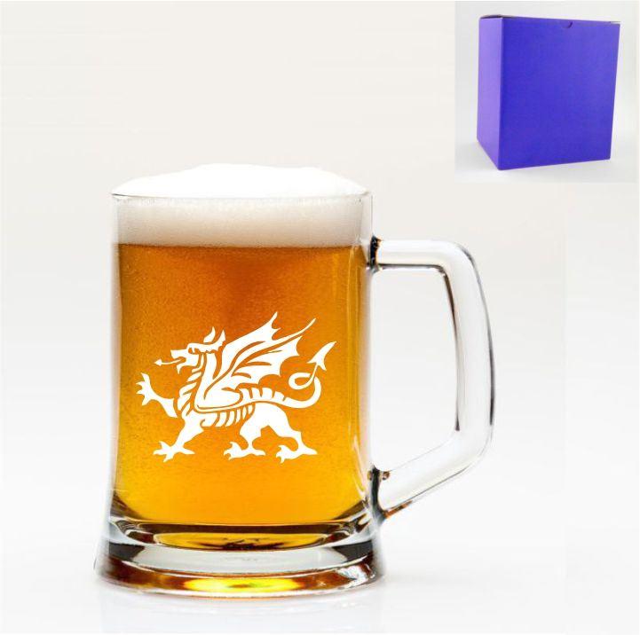 1 Pt tulipe verre à bière avec dragon gallois Design