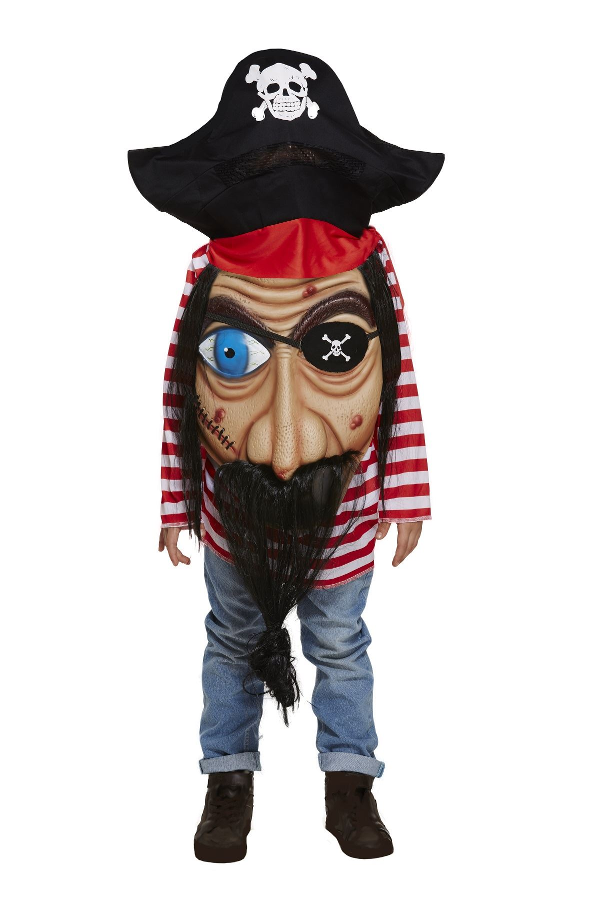 kids adult jumbo giant pirate face halloween costume fancy dress