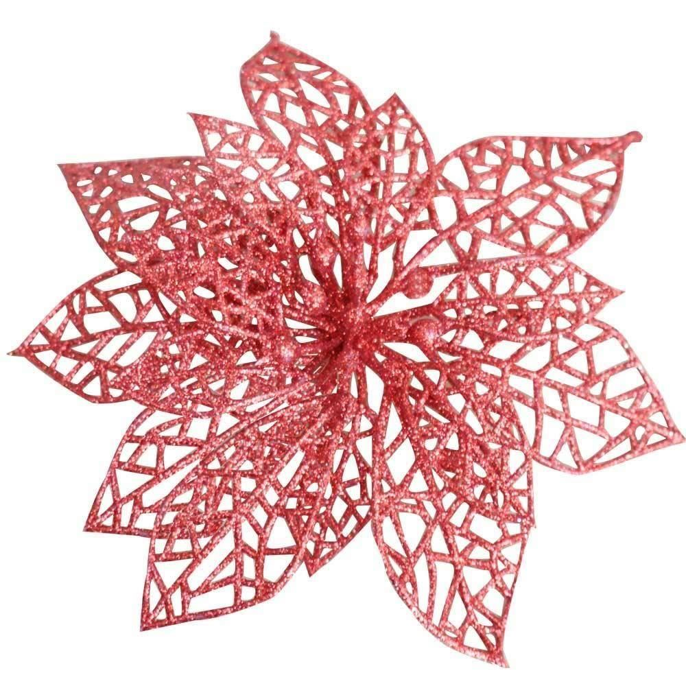 Red Rose Gold Silver Glitter Christmas Tree Poinsettia ...