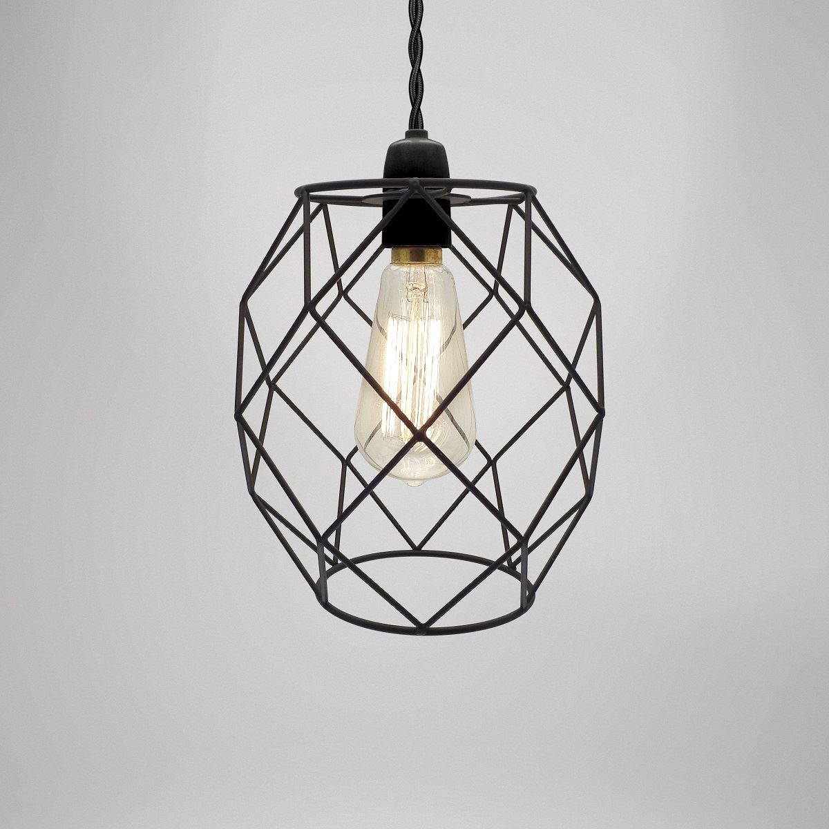 Modern Industrial Black White Copper Metal Cage Wire Pendant Light ...