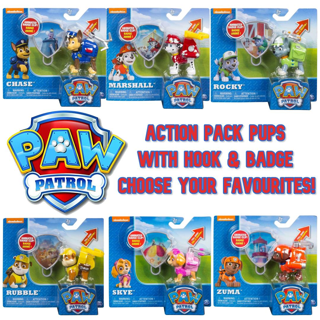 PAW Patrol Action Pack Pup with Extendable Hook and Badge *CHOOSE YOUR PUP*