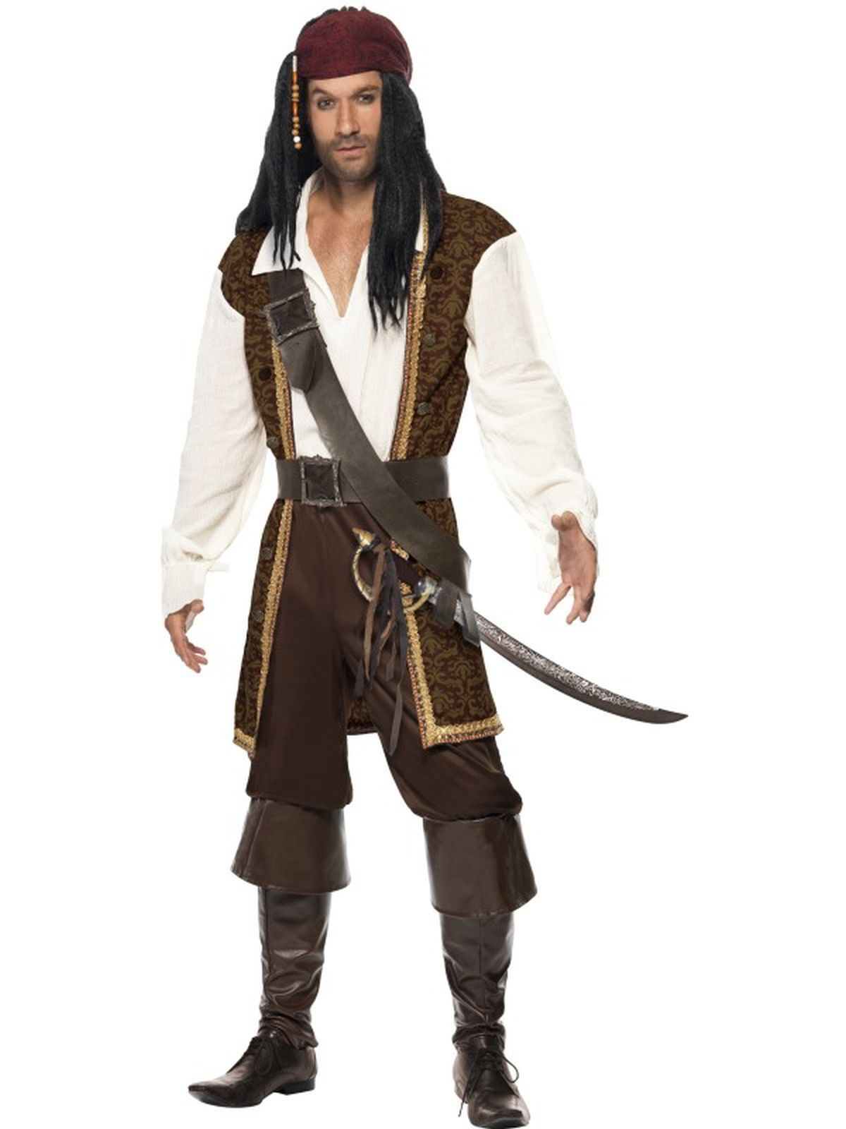 Costume Pirata Uomo Caraibico Alto Mare Costume Addio Al Celibato Vestito