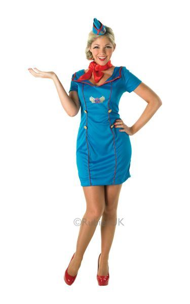 Hat 8-16 Blue Air Hostess Uniform Ladies Stewardess Fancy Dress Womens Costume