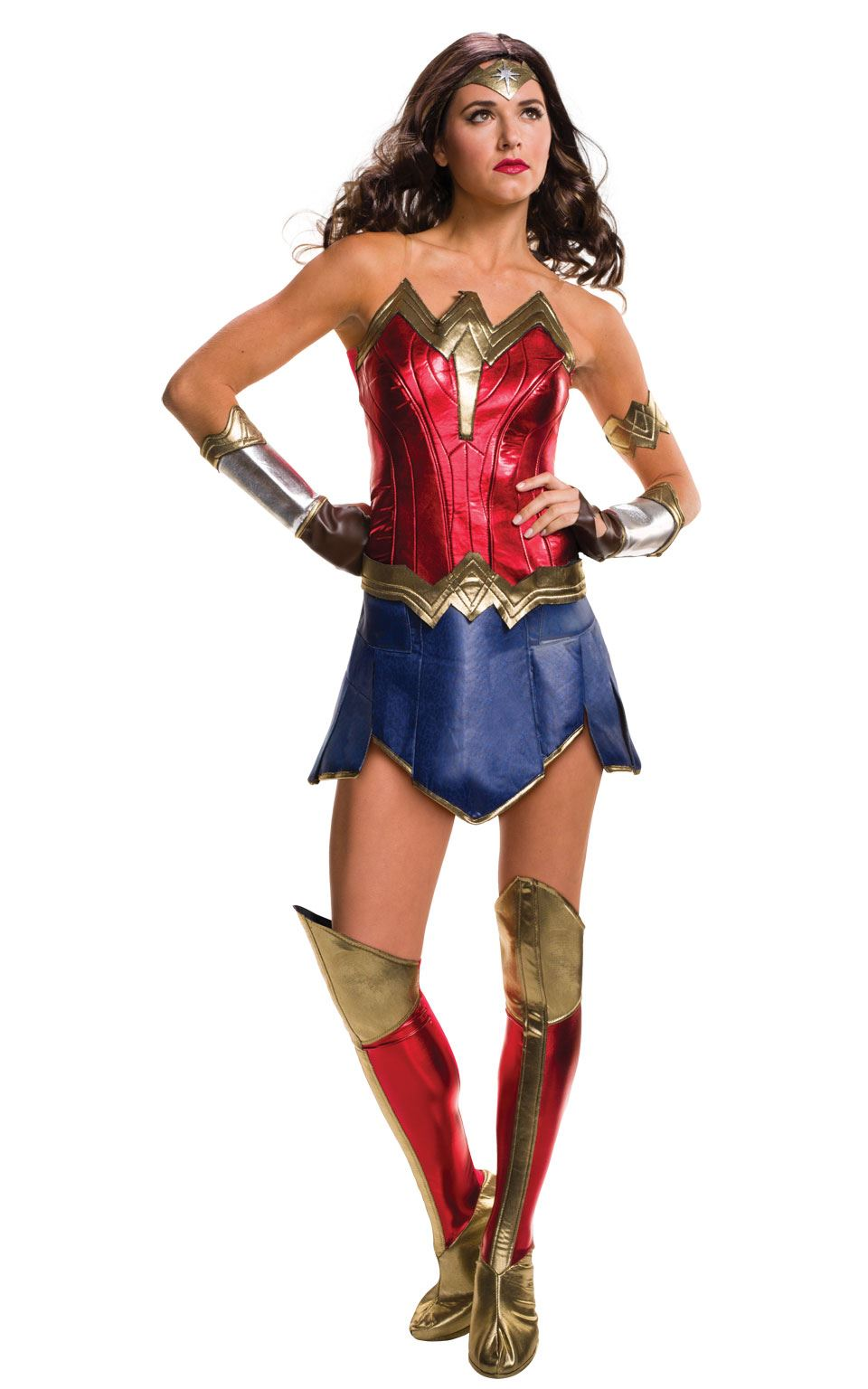 Donna Top Wonderwoman con Capo Costume Outfit UK 8-10