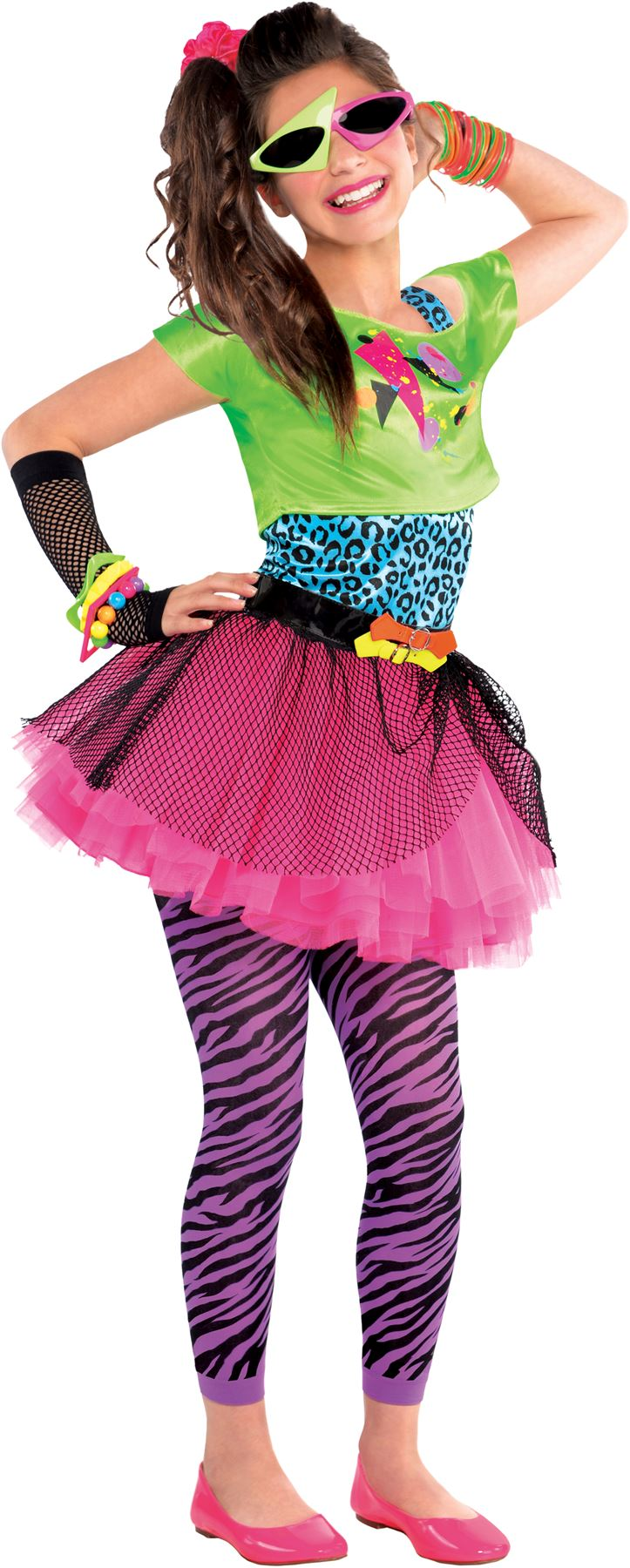 Details about SALE! Teen 80s Totally Awesome Girls Fancy Dress Costume  Party Outfit Age 10,14