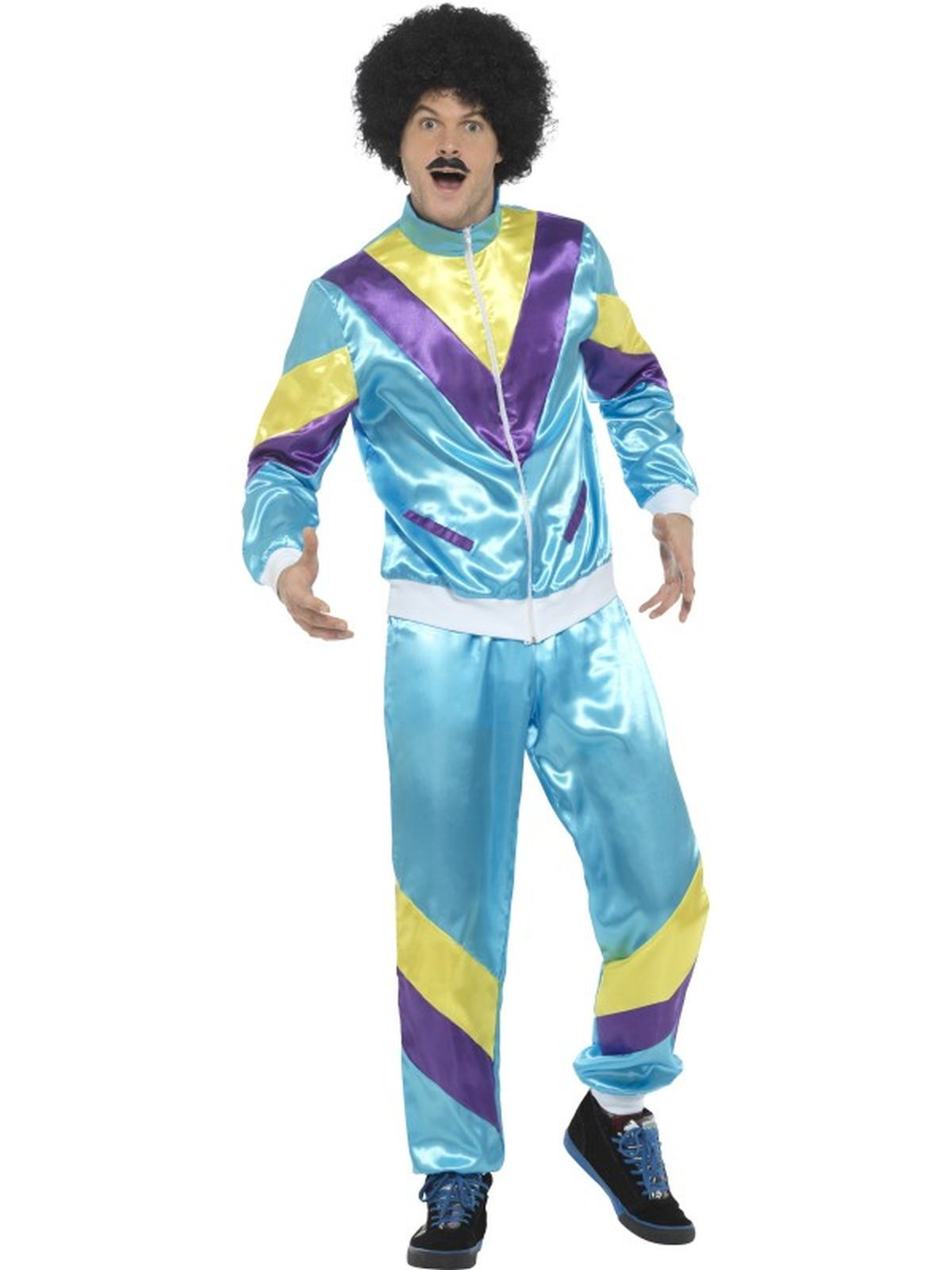 1980s 1990s Scouser Shell Track Suit Mens Fancy Dress Stag Party Costume Outfit