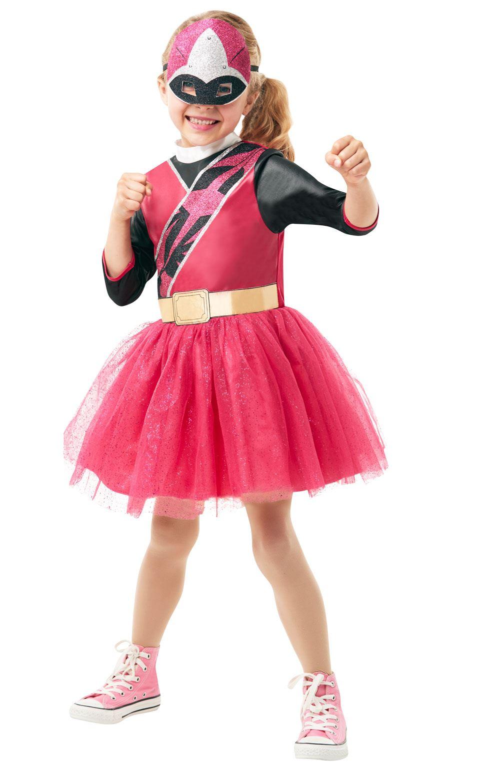 Power Pink Ranger Girls Costume Ninja Steel Fancy Dress Outfit official licensed