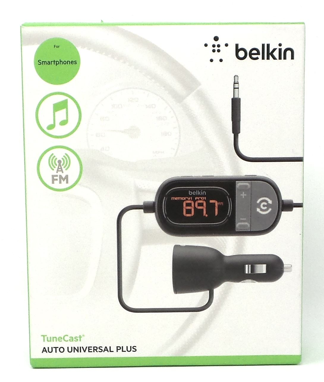 belkin tunecast auto universal fm transmitter aux w. Black Bedroom Furniture Sets. Home Design Ideas