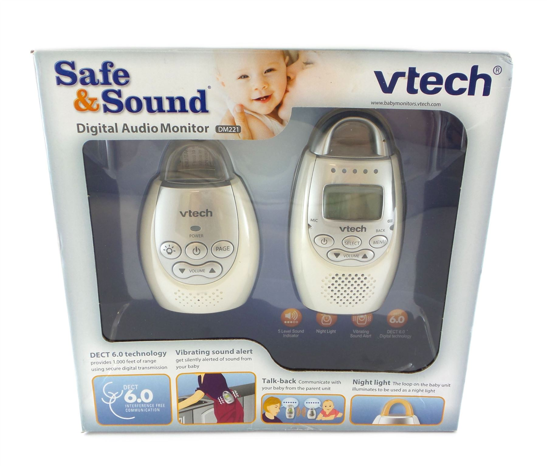 Vtech Safe /& Sound Digital Audio Baby Monitor 2 Way Talk DECT 6.0 DM221 White