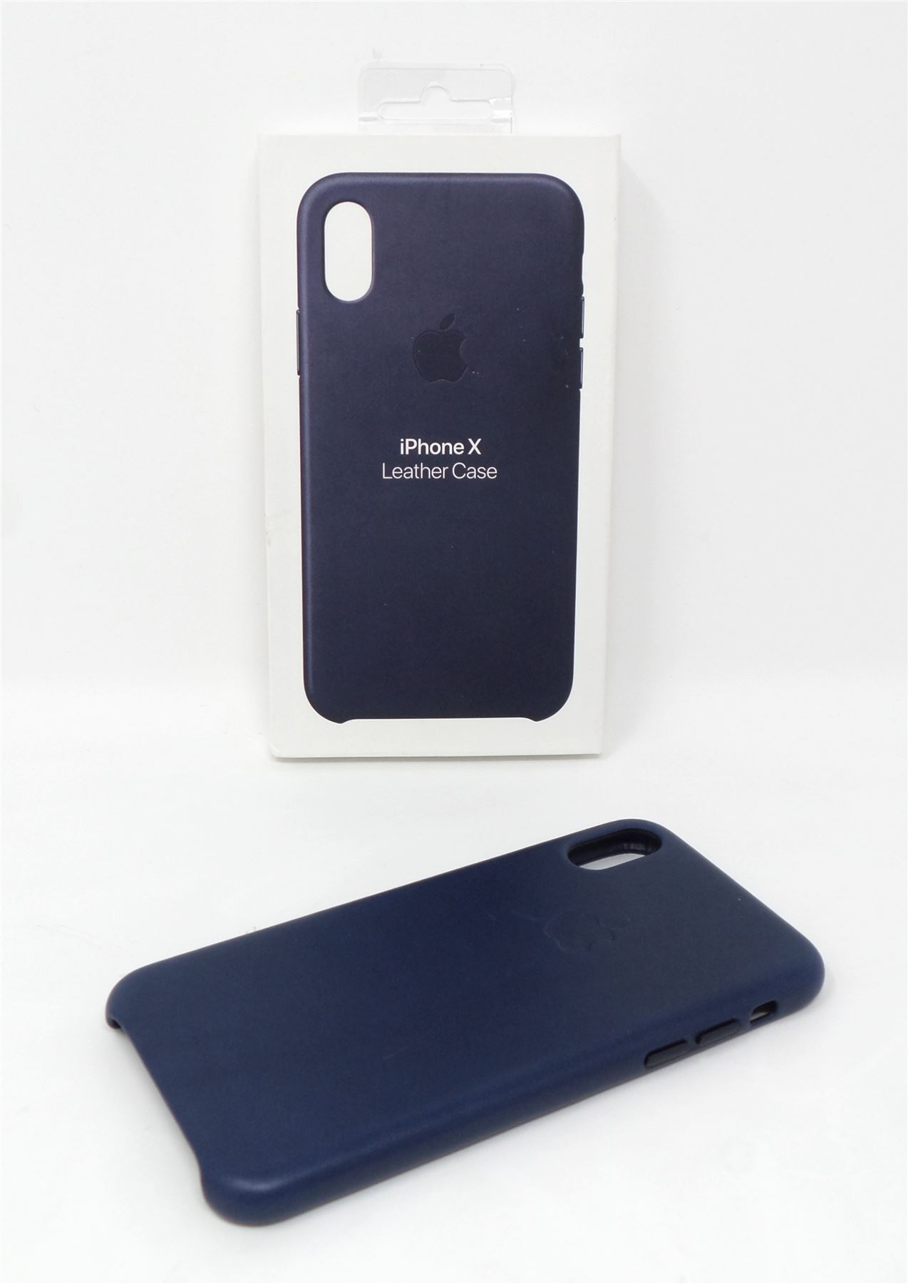 quality design af0ee 96234 Details about Apple Leather Case for Apple iPhone X Midnight Blue MQTC2ZM/A  Genuine
