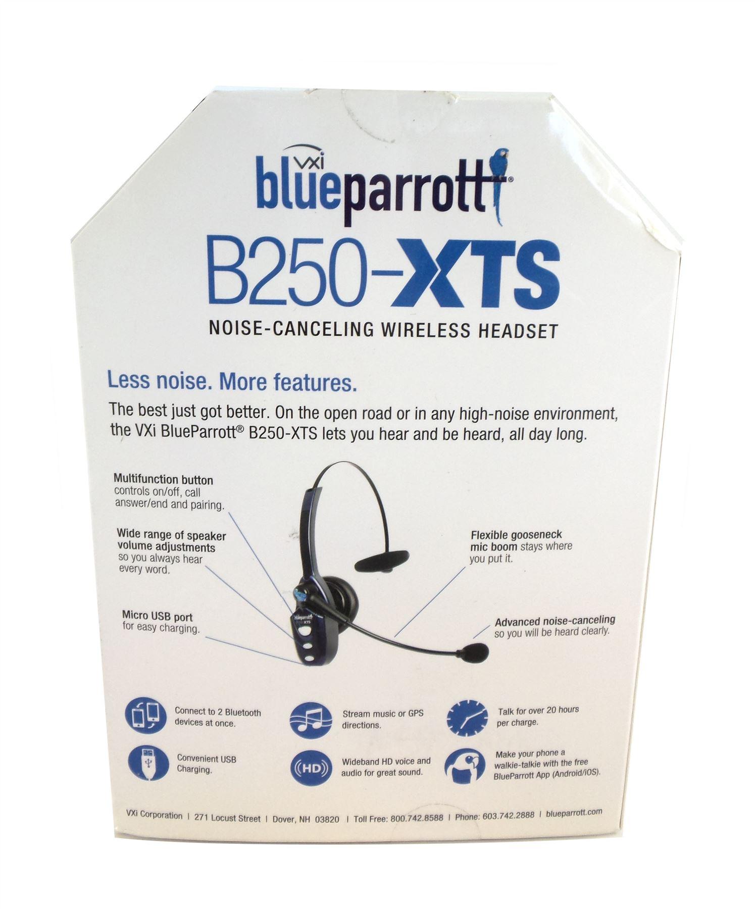 3b0441f2442 Vxi Blueparrott B250-XTS Bluetooth Wireless Headset with Micro USB Charging  Blue