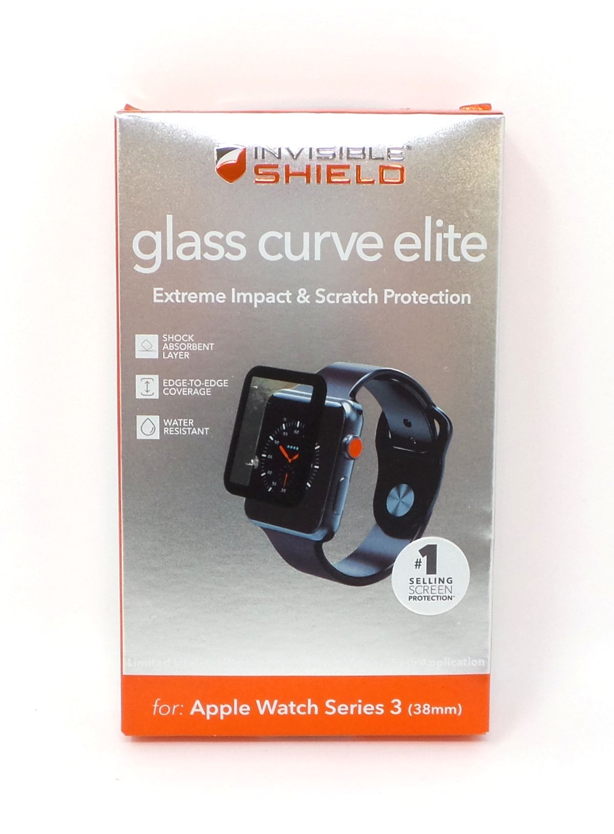 super popular 0d355 823f7 Details about Zagg InvisibleShield Glass Curve Elite for Apple Watch Series  3 38mm Black New