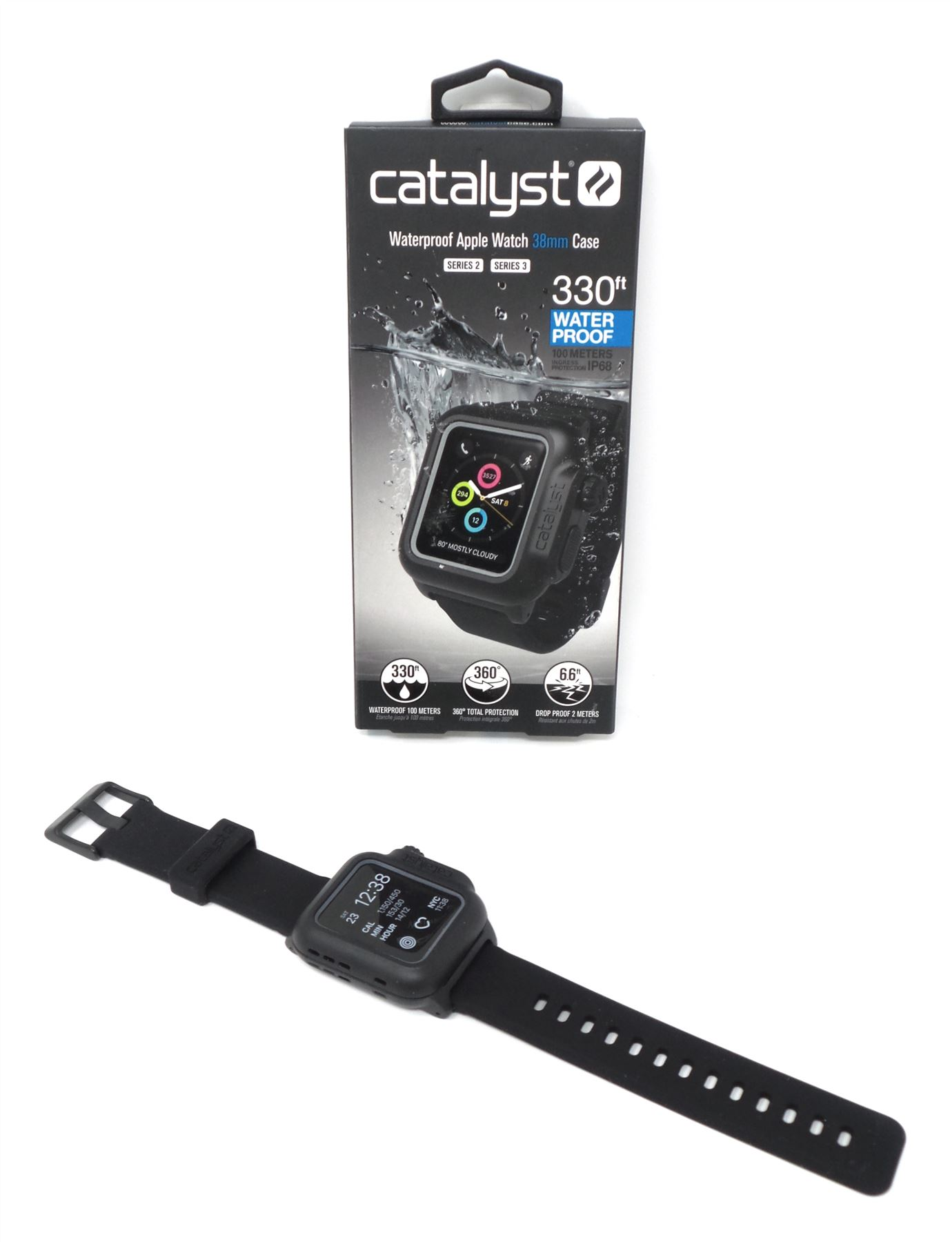 buy online 3dae3 525a7 Details about Catalyst Waterproof Case + Band for Apple Watch 38mm Series 2  & 3 Stealth Black