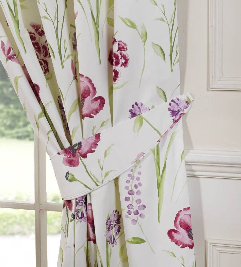 Ellie Red Poppy Pencil Pleat Lined Ready Made Curtains EBay - Ready made curtains red