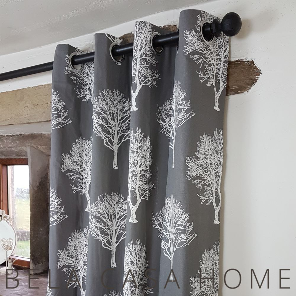 Cottage curtains - Cottage Tree Design Charcoal Eyelet Top Lined Curtains