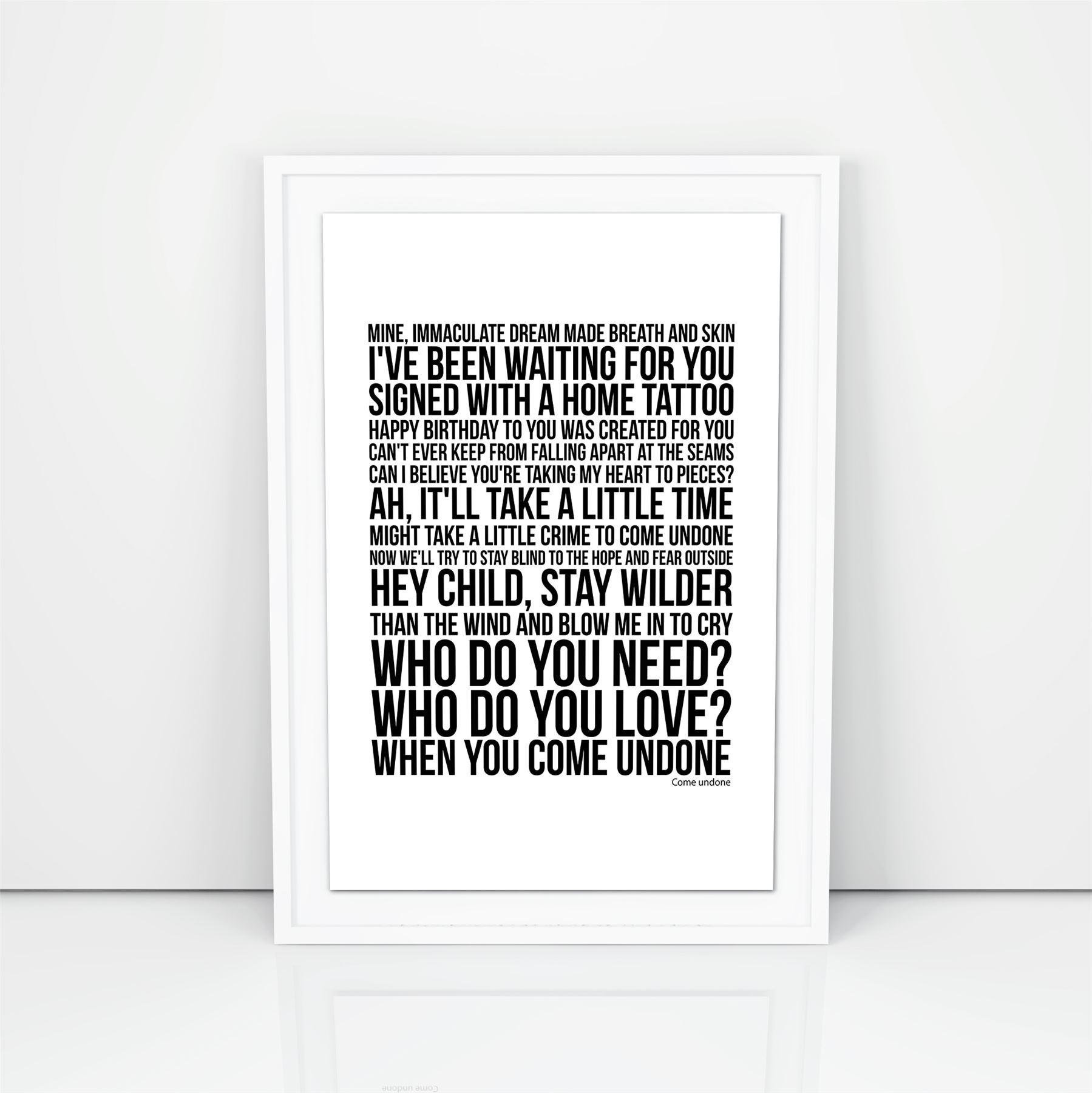 Duran Duran Come Undone Lyrics Poster Print Design A3 A4 Size Song ...