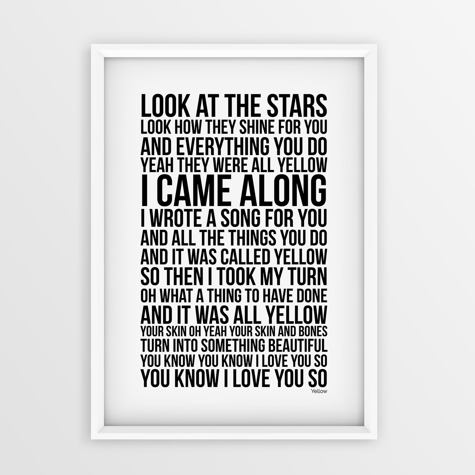 Coldplay-Yellow-Song-Art-Print-Lyrics-Typography-Poster-Picture-A4-A3-Sizes