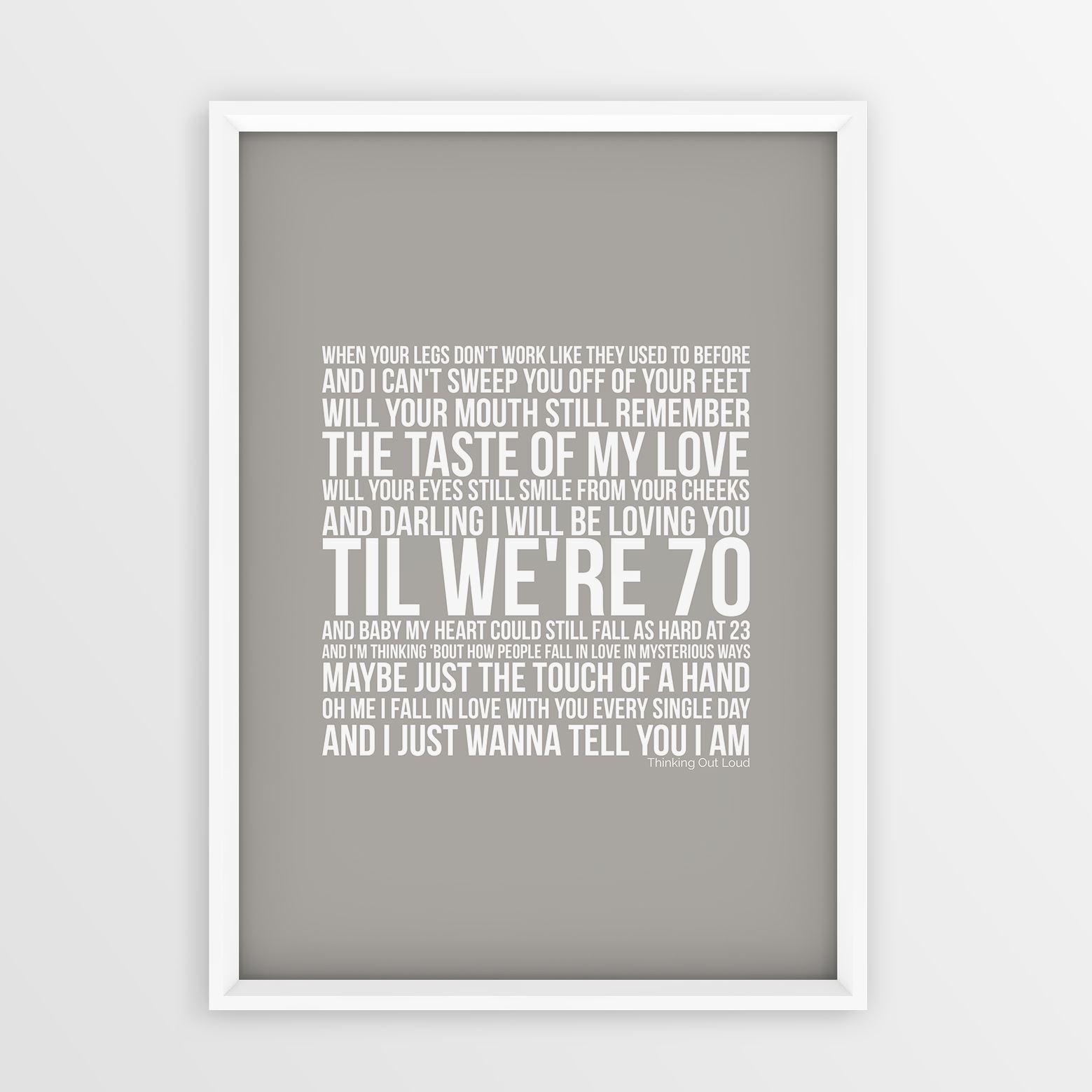 Ed Sheeran Thinking Out Loud Art Poster Song Wall Lyrics A4 A3 Sizes ...