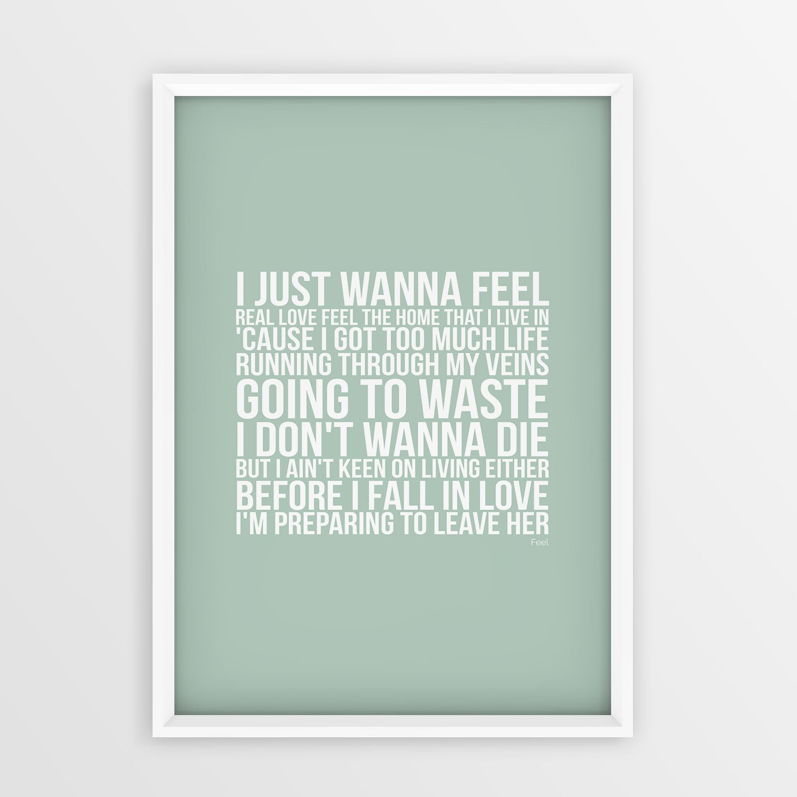 Robbie Williams Feel Lyrics Song No Frame A4 A3 Sizes Typography ...