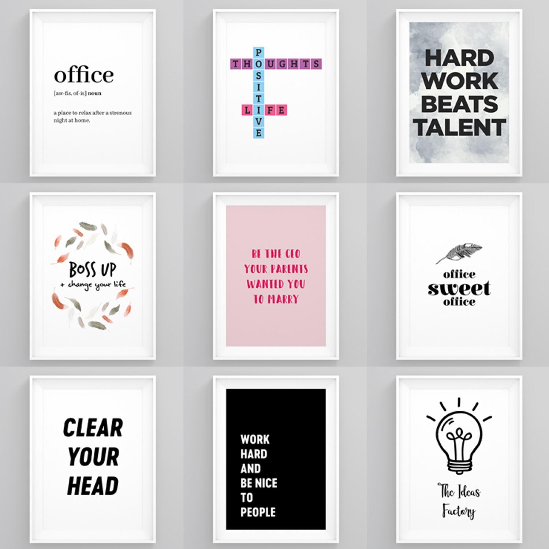Inspirational Framed Prints Office Wall Art Motivational Pictures Hustle Posters Ebay