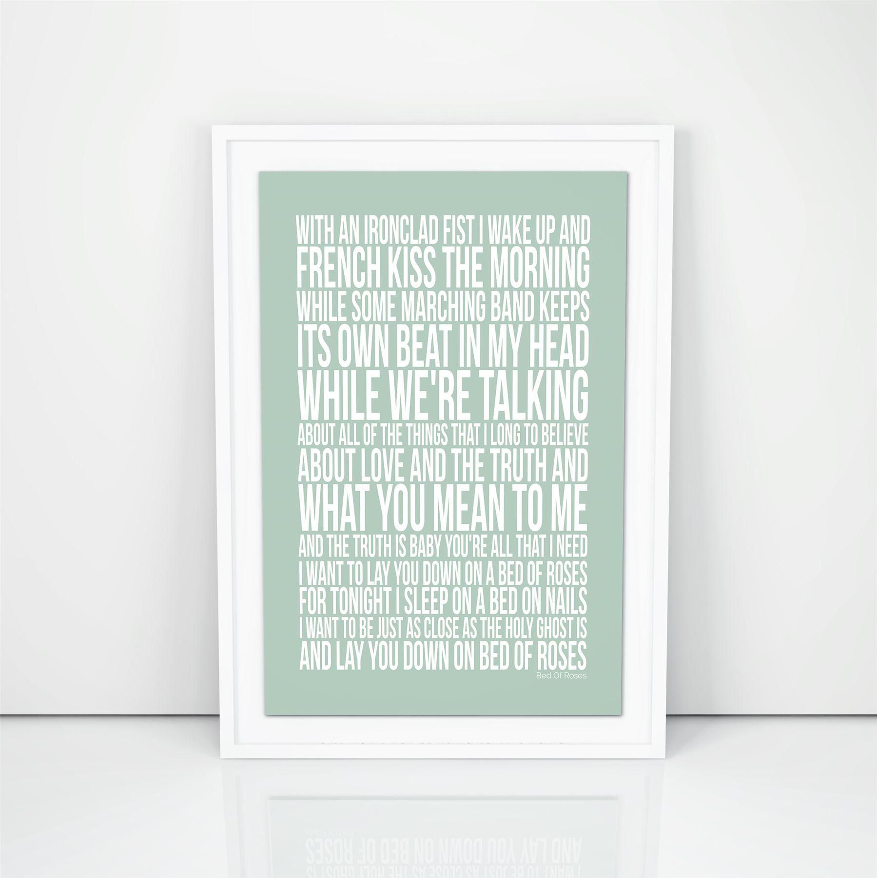Bon-Jovi-Bed-Of-Roses-Lyrics-Poster-Printed-Song-Typography-Present