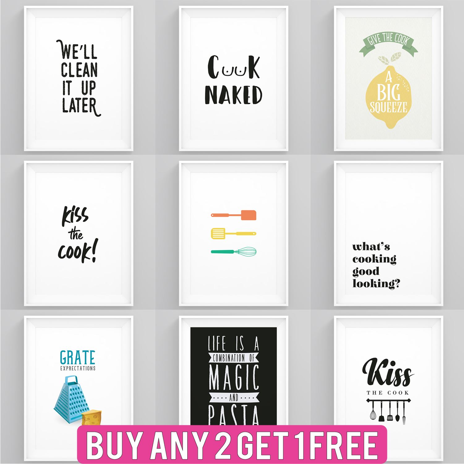Kitchen Prints Framed Cooking Quotes Wall Art A5 A4 A3 A2 Dining Room Posters Ebay
