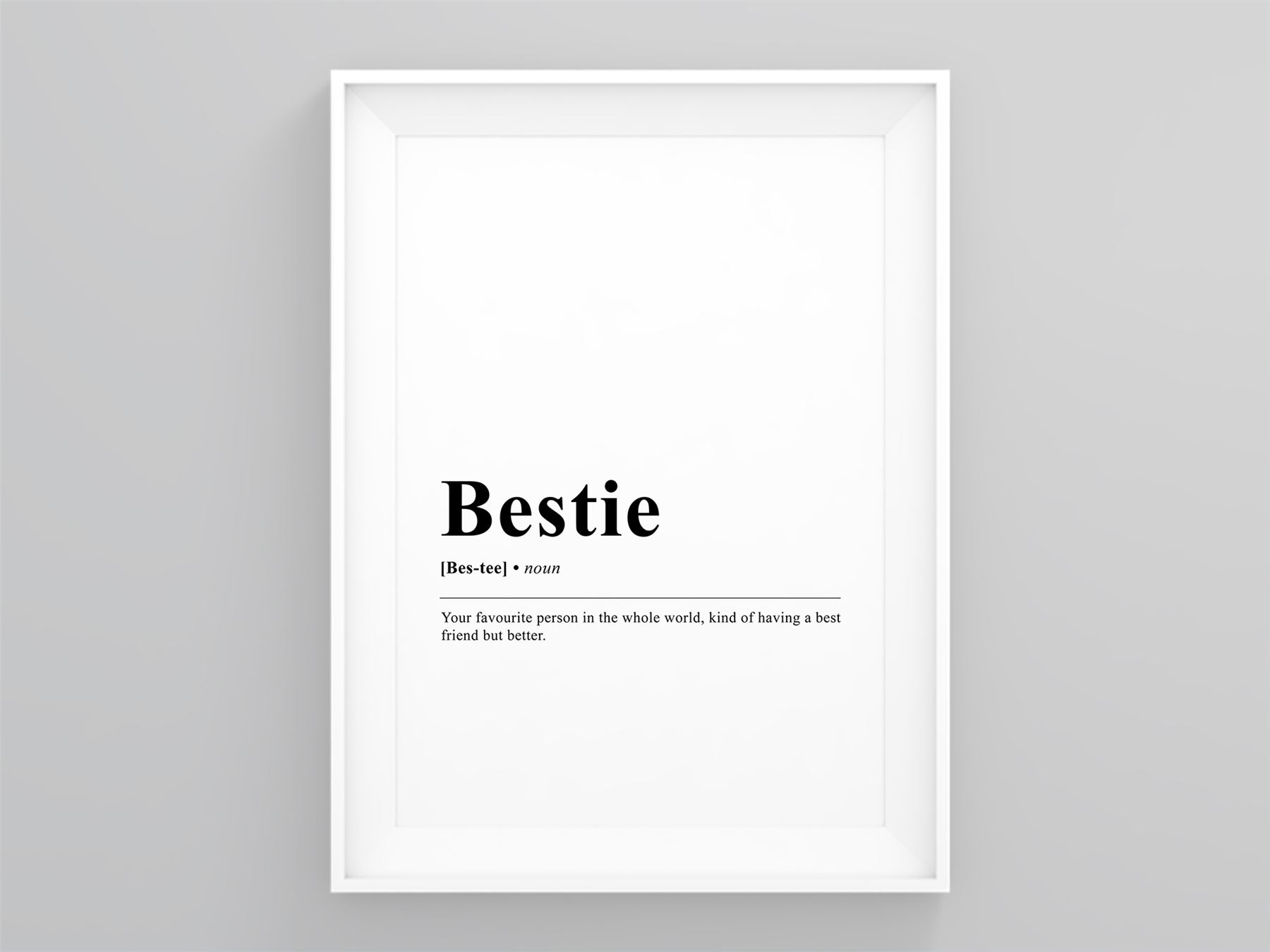 Bestie Funny Definition Scandi Print Framed Wall Modern Art