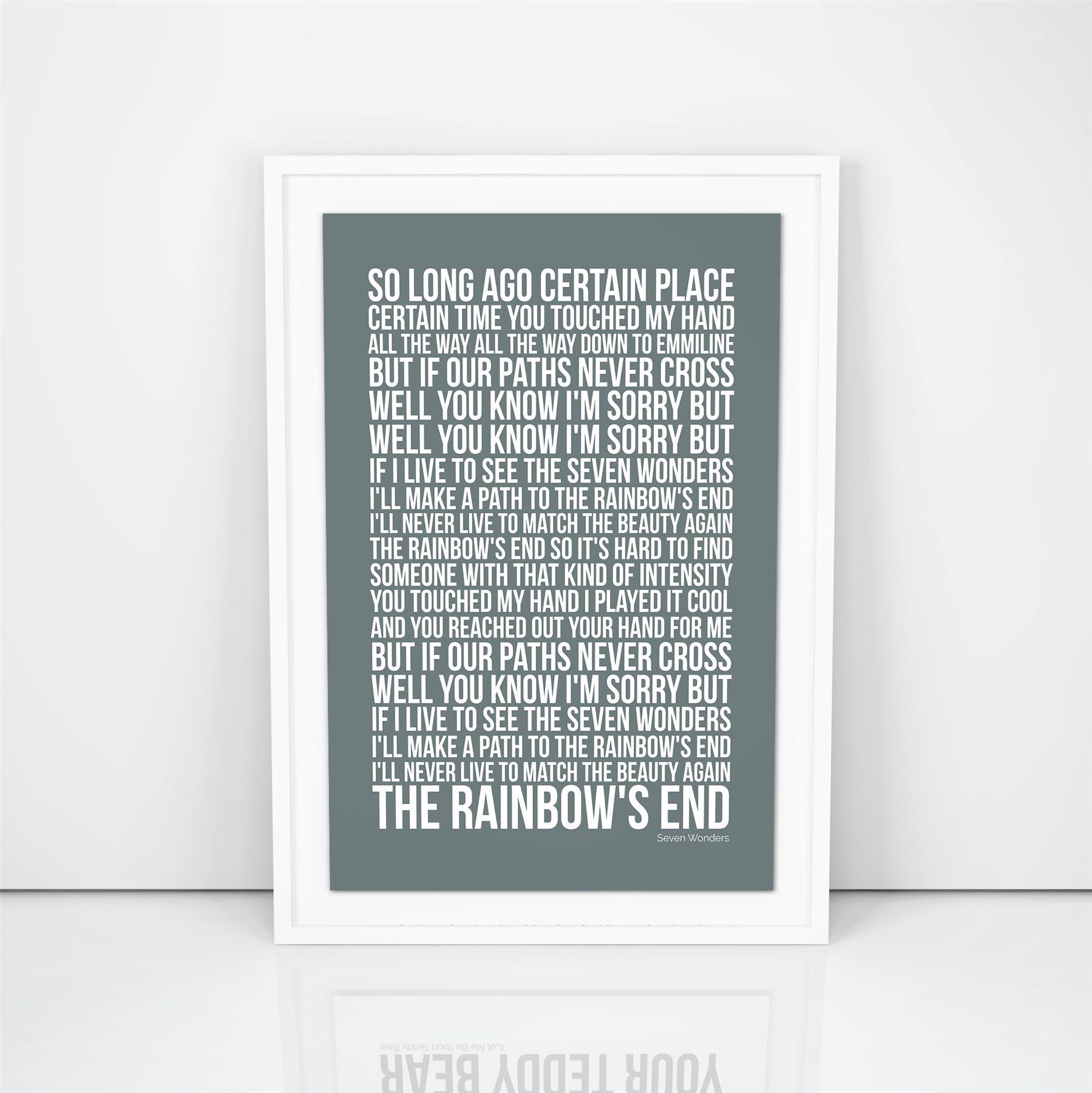 Fleetwood Mac Seven Wonders Lyrics song print A4 A3 Size Poster Wall ...