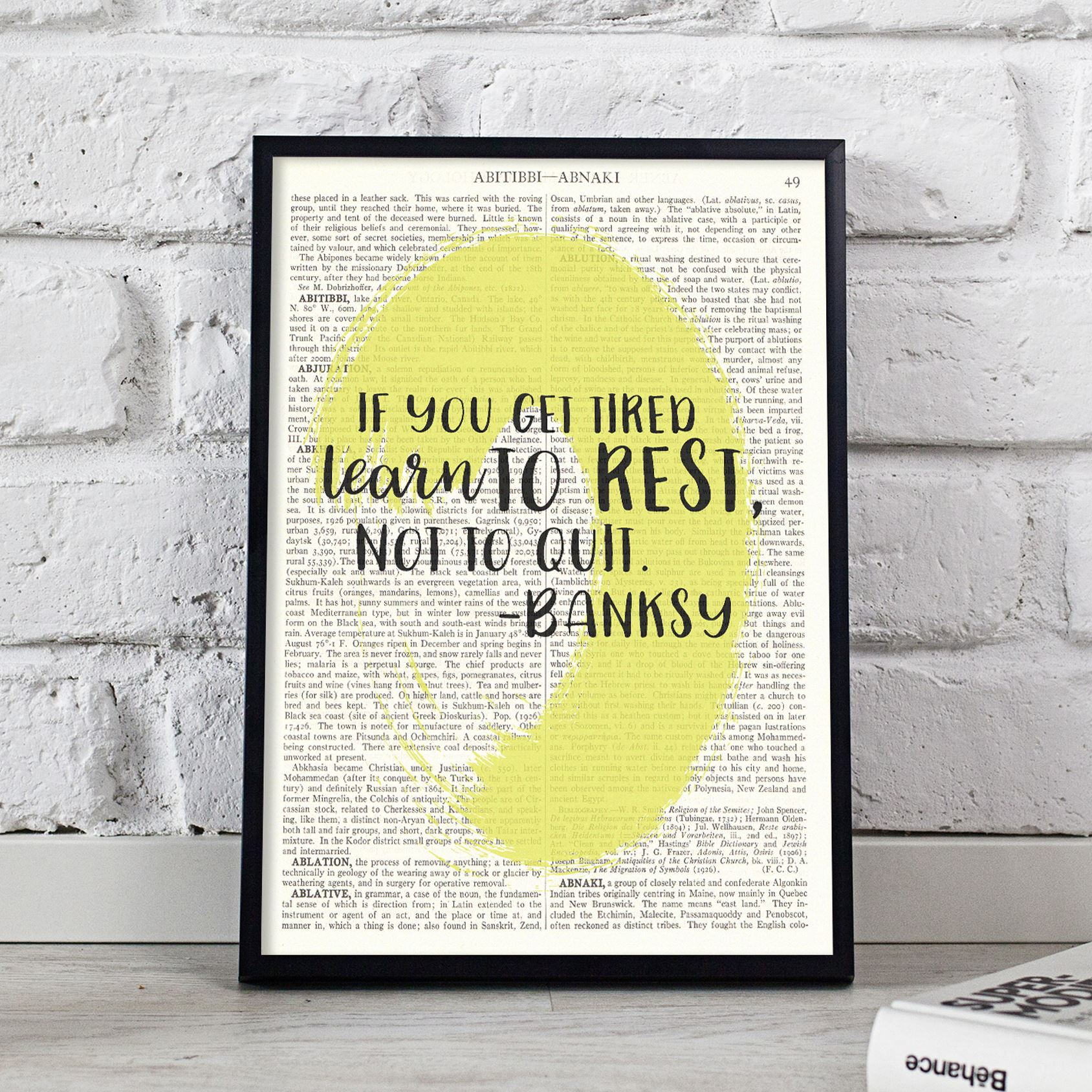 Dictionary Art Picture If You Get Tired Banksy Quote Book Page Print ...