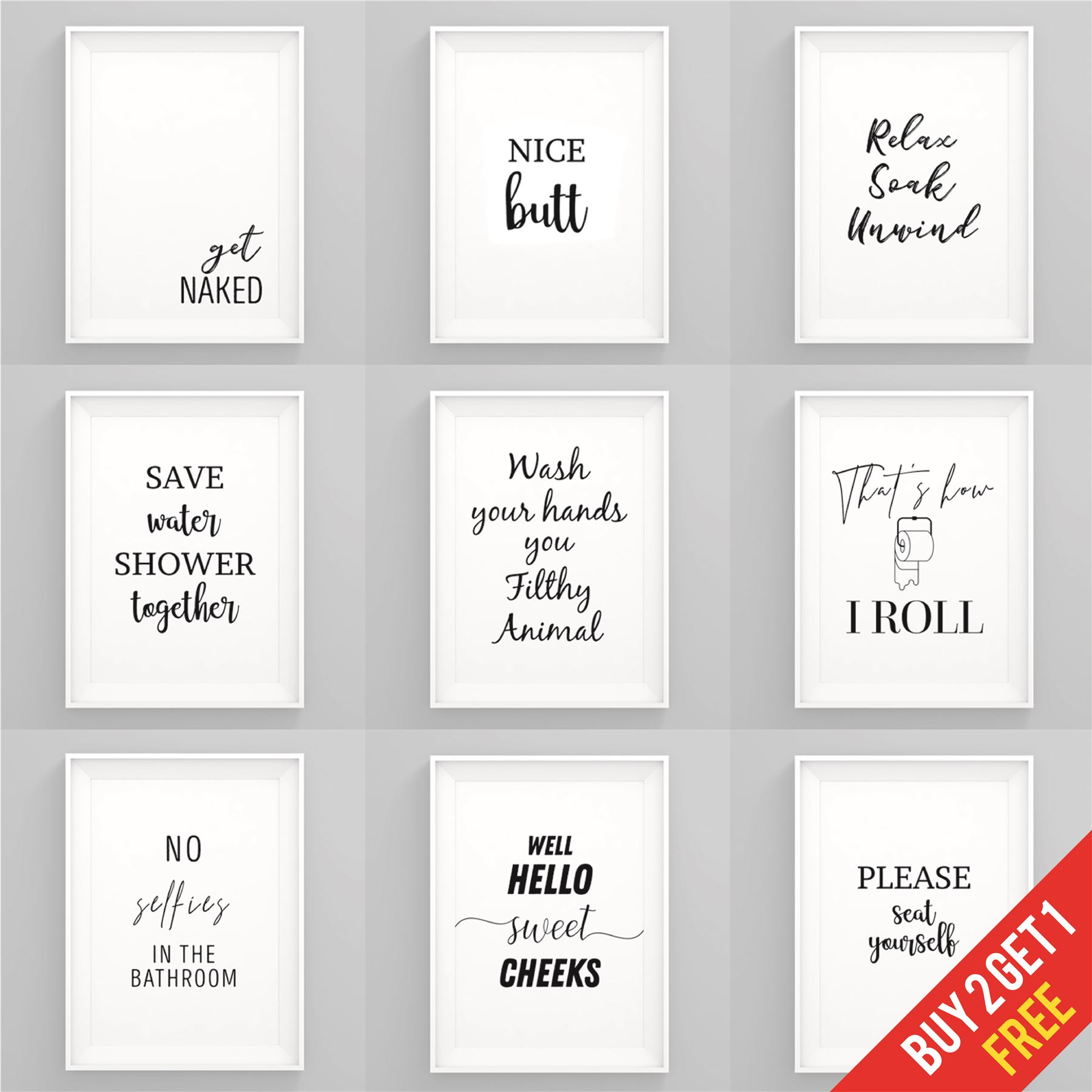 Bathroom Prints Black and White Funny Bathroom Wall Art ...