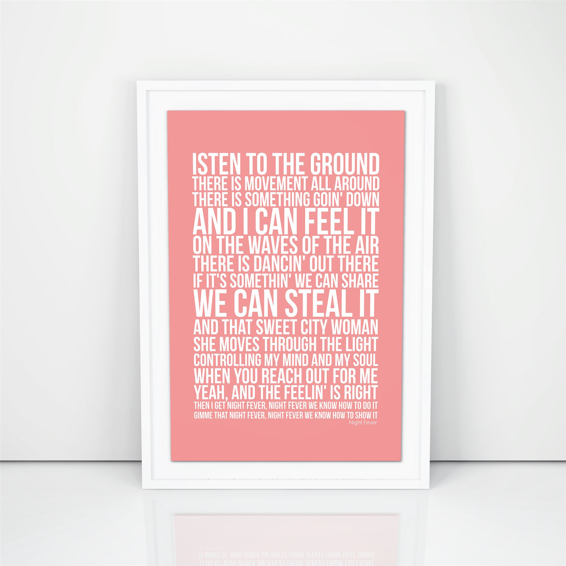 Bee Gees Night Fever Poster Lyrics A4 A3 Size Wedding Gift First ...