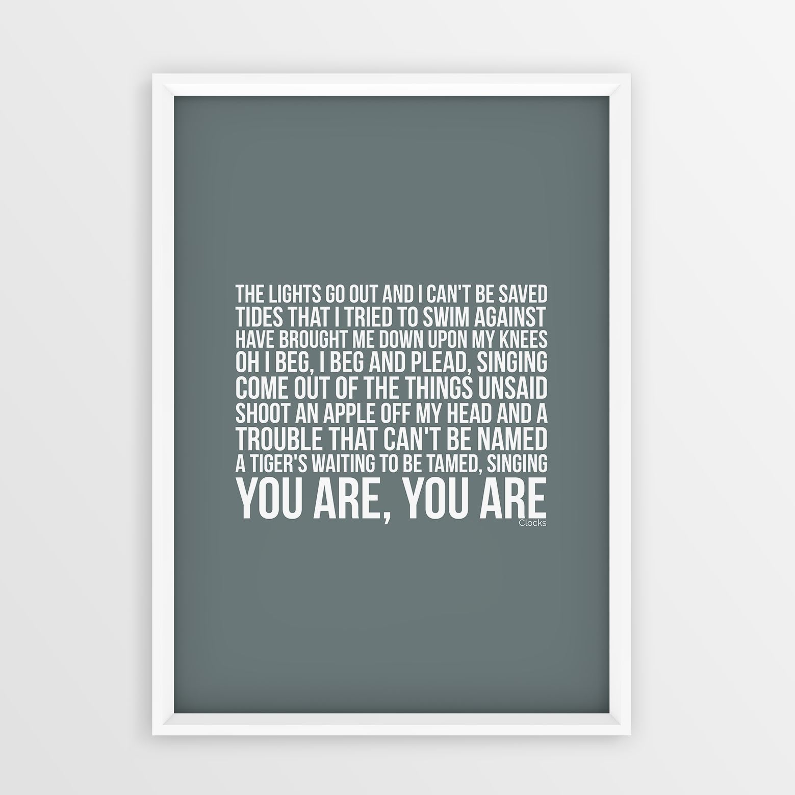 Coldplay Clocks Lyrics Art Print Poster Not Framed - Sizes A4 And A3 ...