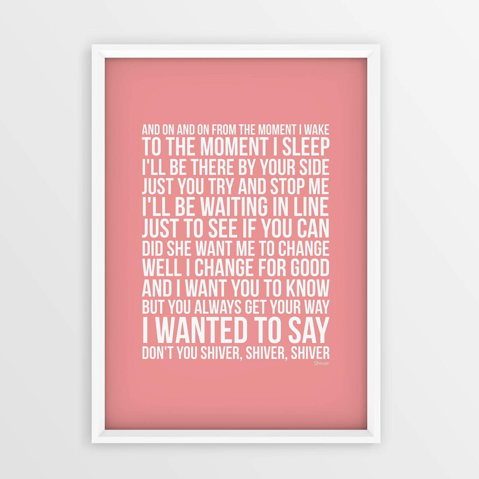Coldplay-Shiver-Lyrics-Wall-Art-Picture-Print-Song-Unframed-A4-A3-Size