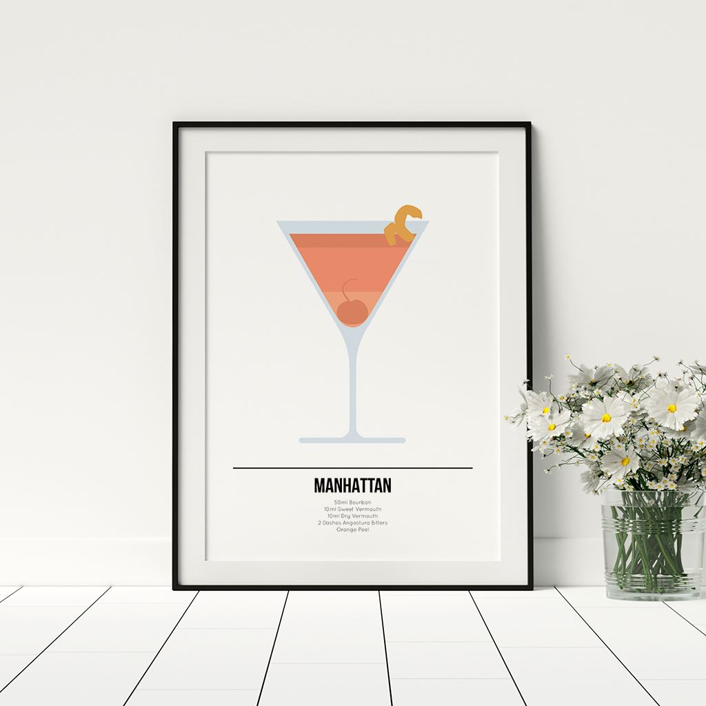 Manhattan Cocktail Poster Kitchen Drinks Prints Framed Home Decor Alcohol Art Ebay