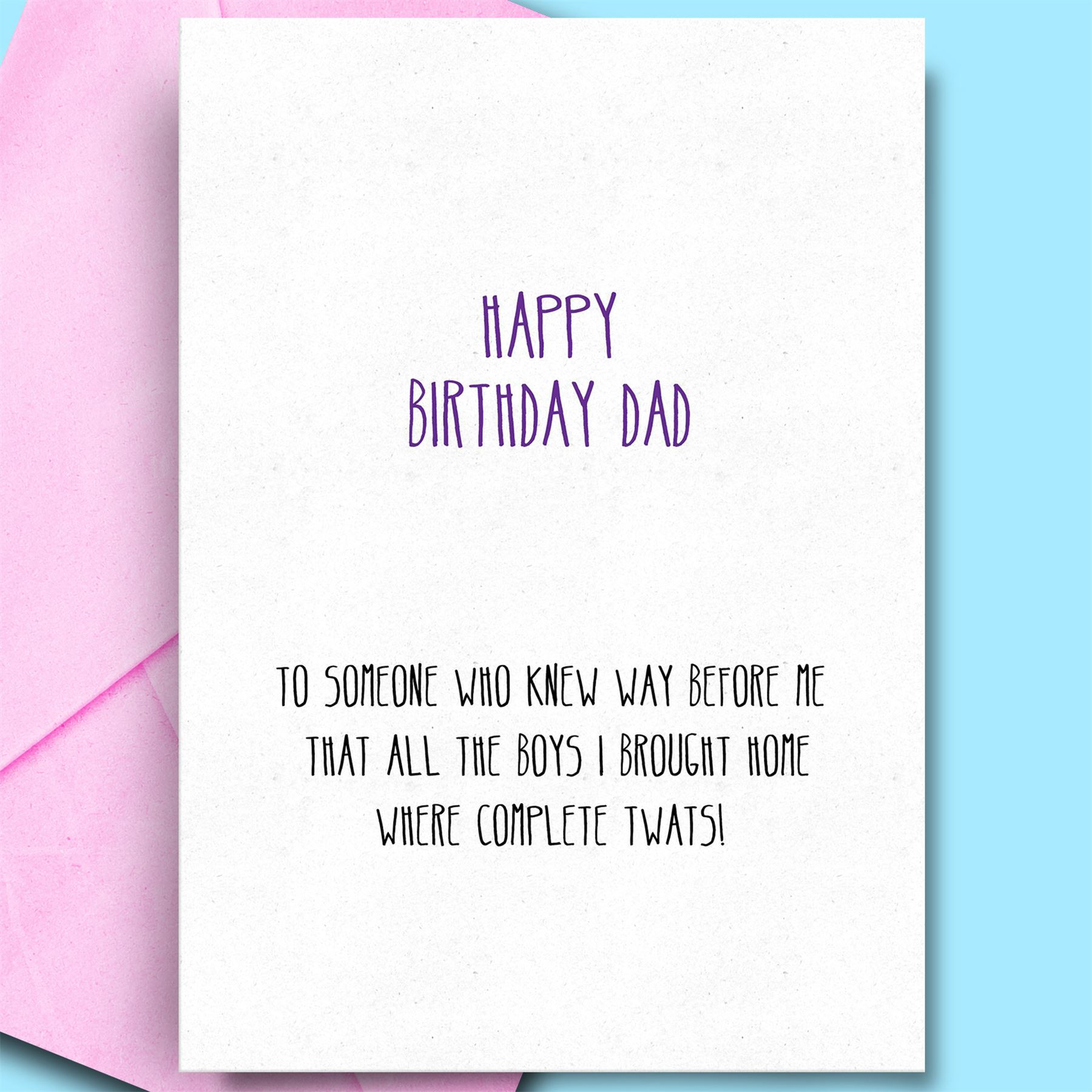 Details About Birthday Wishes For Father From Daughter Son Funny Rude Cards