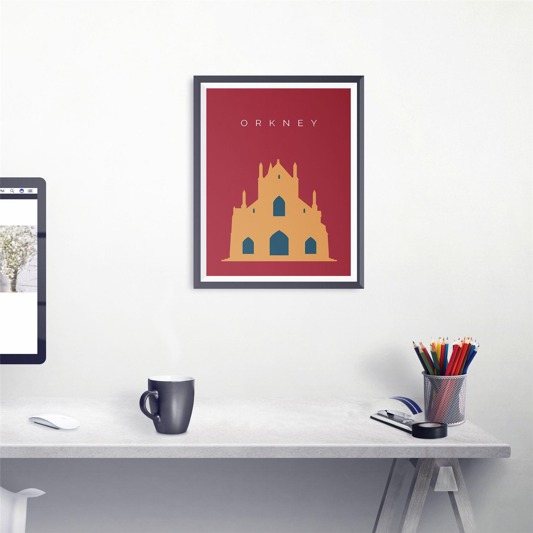Orkney St Magnus Cathedral Travel Artwork Landmark Artwork Retro