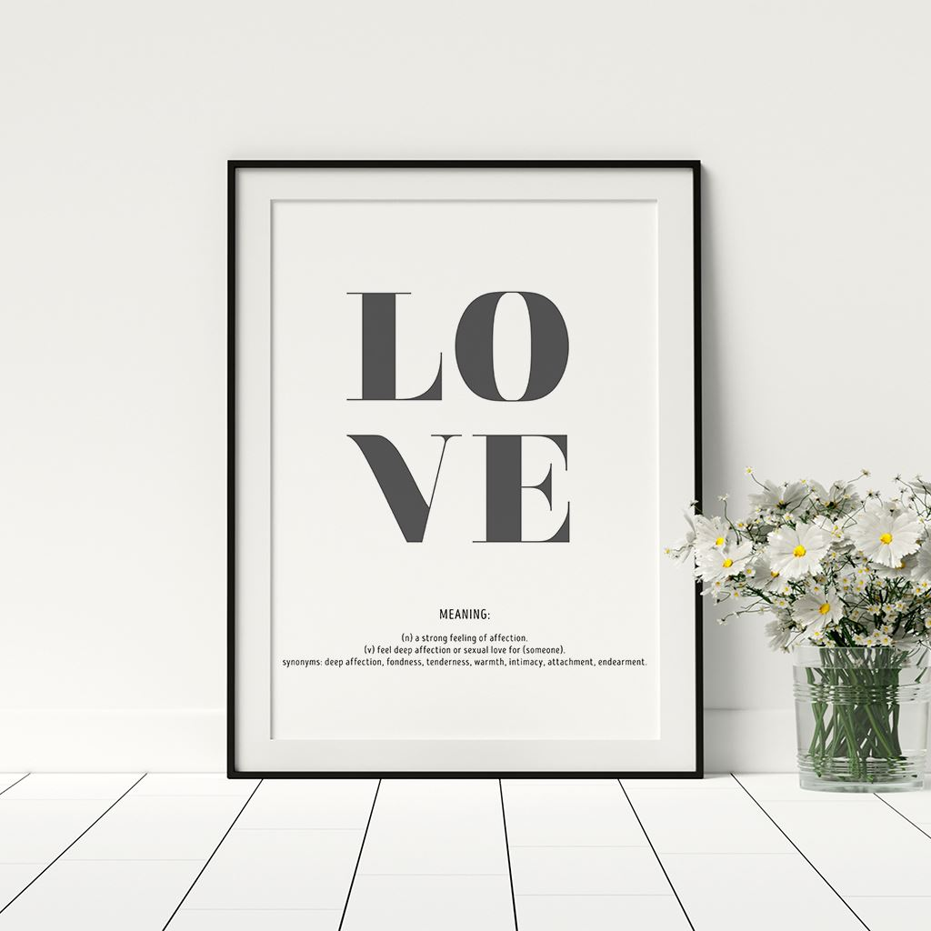 Details about Love Definition Quote Stylish Dictionary Definition Posters  Home Décor Framed