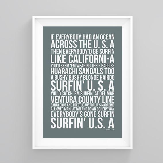 the beach boys surfin usa lyrics poster print artwork ebay