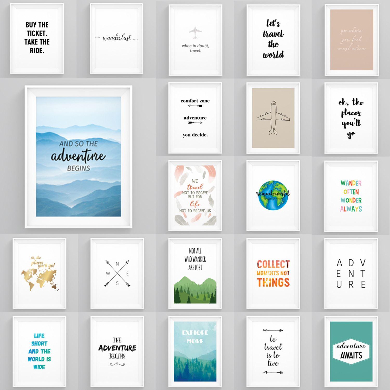 Motivational Travel Quotes Framed Pictures Wanderlust Wall Art Bedroom Prints Ebay