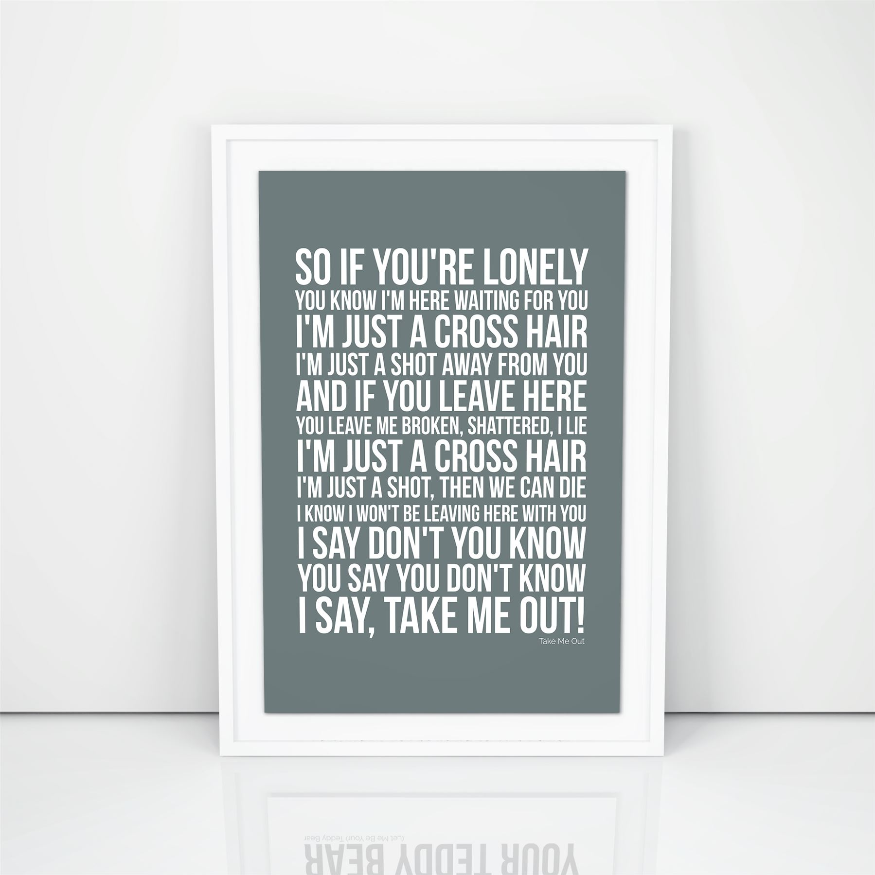Franz Ferdinand Take Me Out Lyrics song print A4 A3 Size Poster Wall Artwork