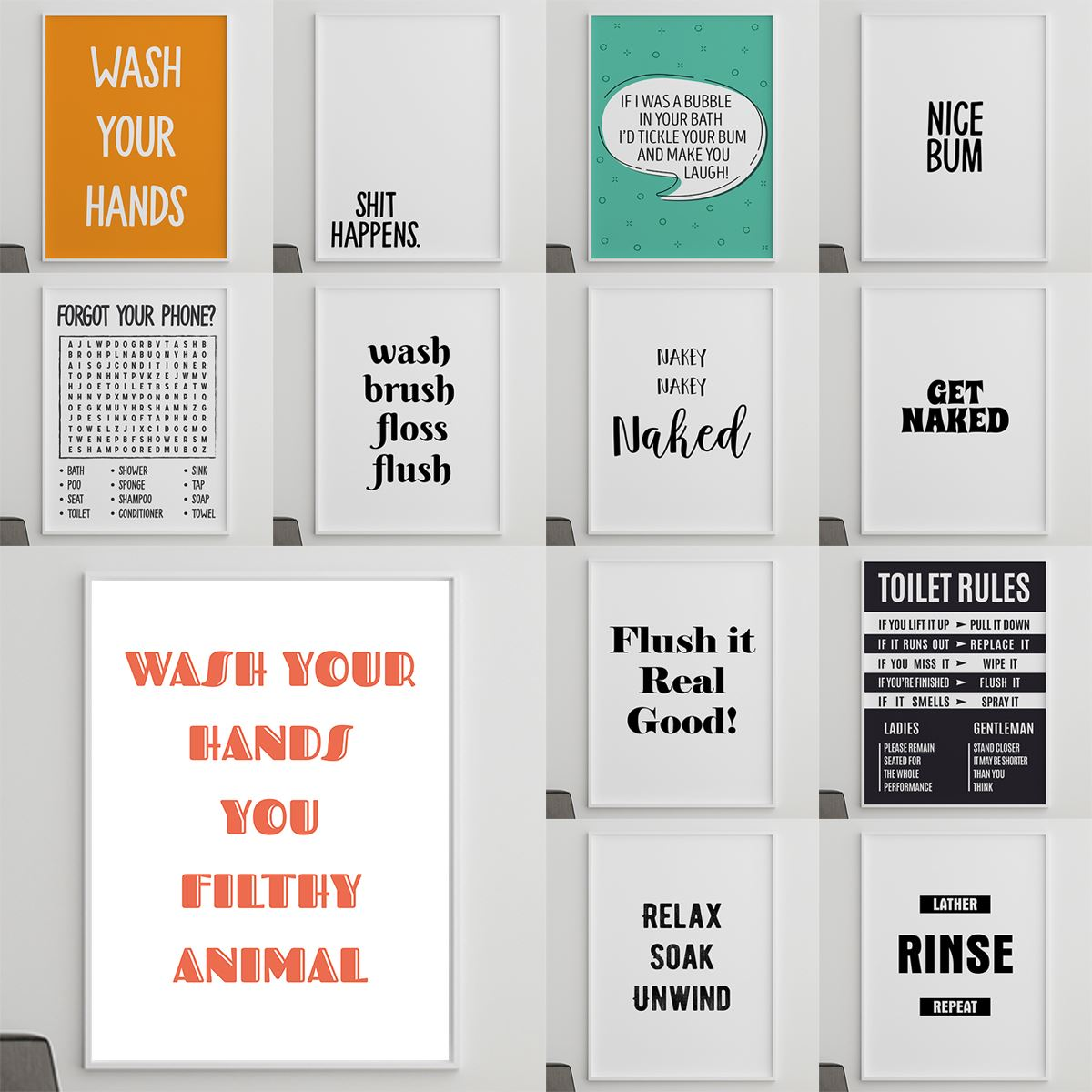 Wall Art For Downstairs Toilet Funny Bathroom Print Frames And Posters Home Art Ebay