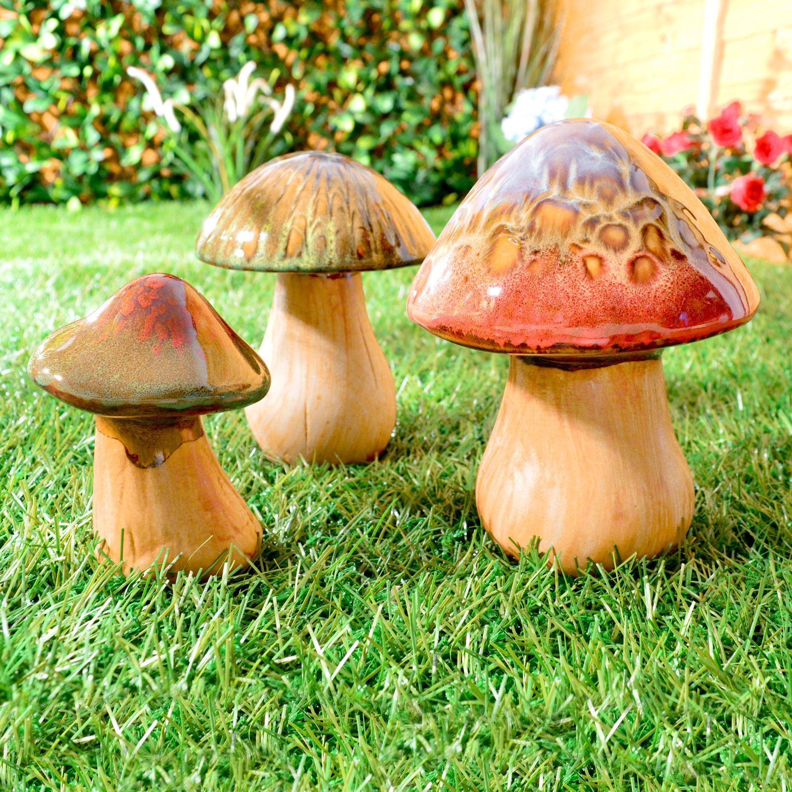 Ceramic Mushrooms Toadstools Pottery Garden Indoor Outdoor Ornaments ...