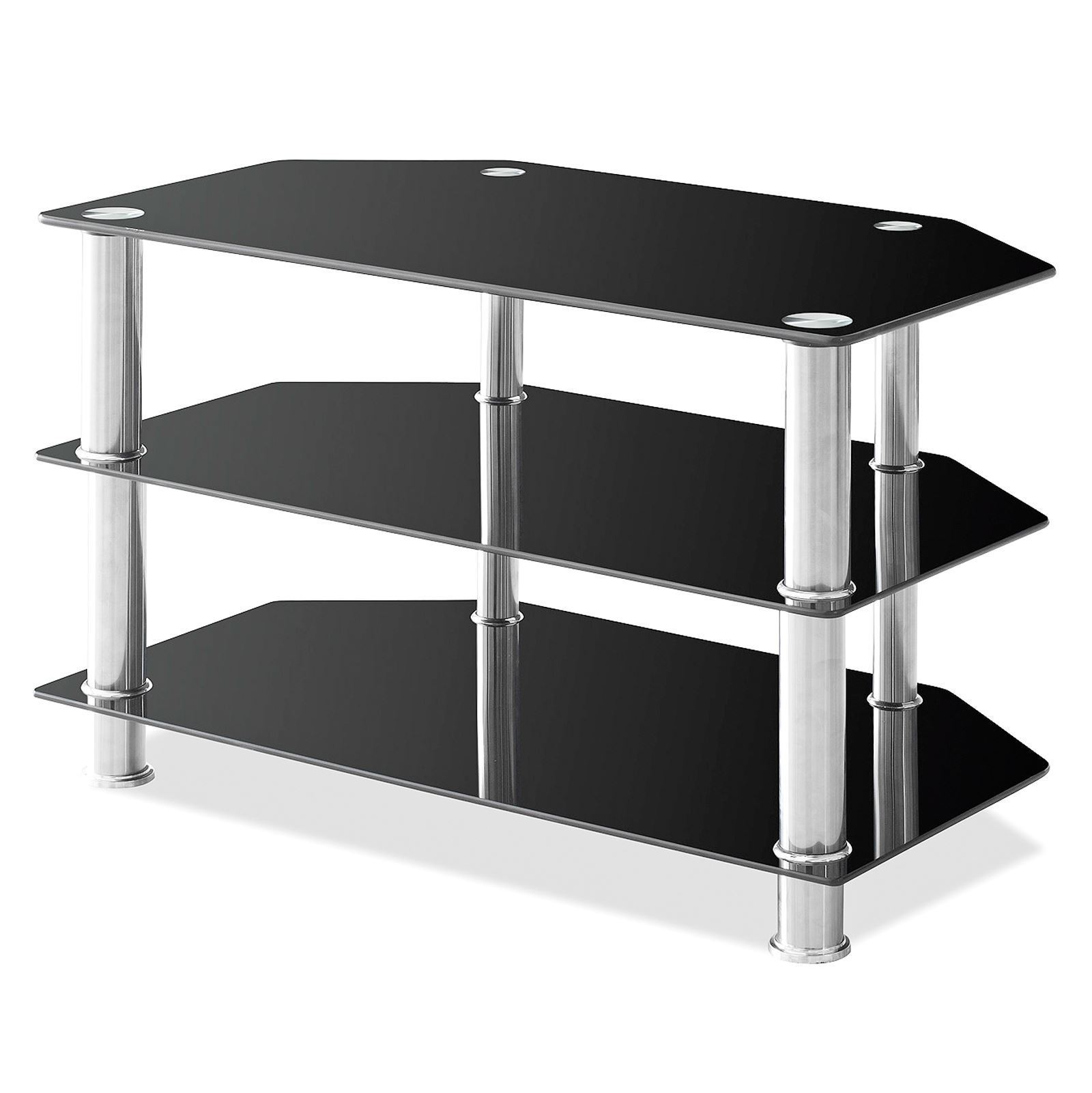 Glass Shelf Tv Unit Dvd Black 2 3 4 Tier Stainless Steel Living  # Meuble Tv Noir En Verre