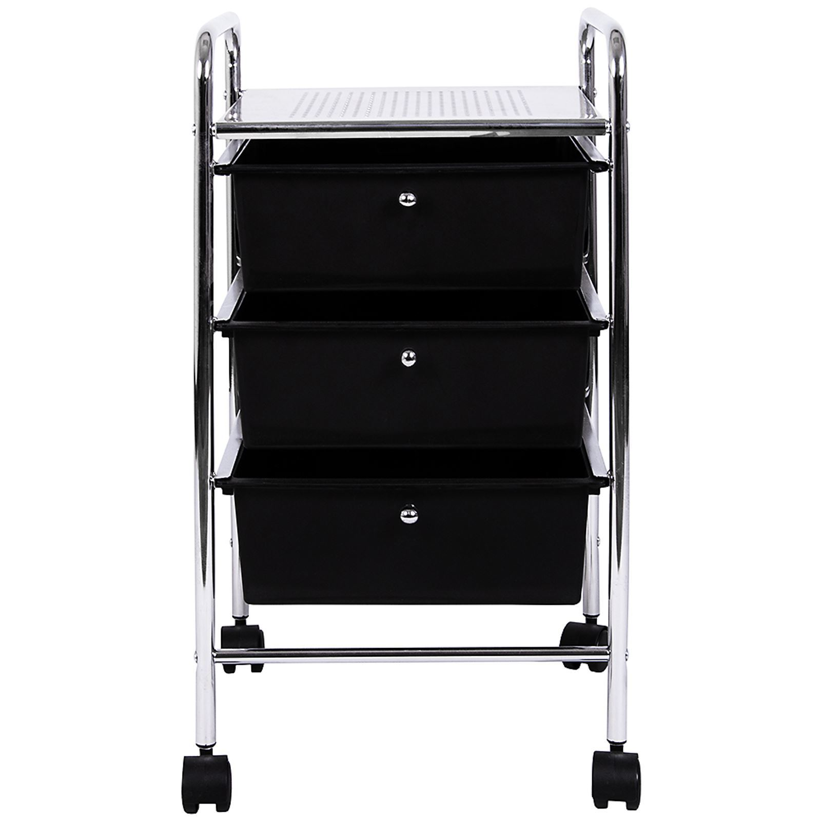 Storage Trolley Wheels Trays Black White Household Kitchen