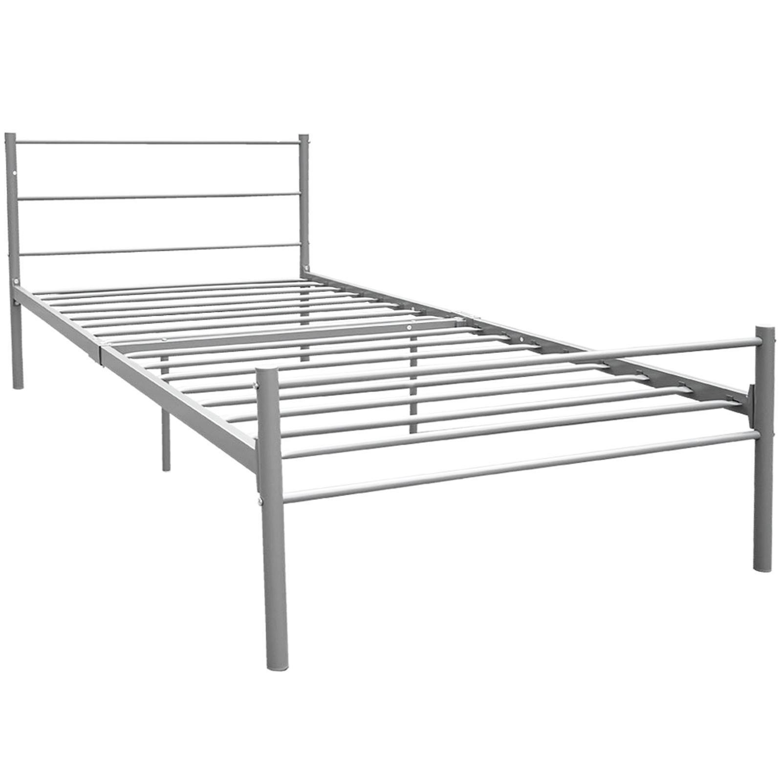 Bed Frame Bedstead Single Double King Size Metal Silver Grey Black ...