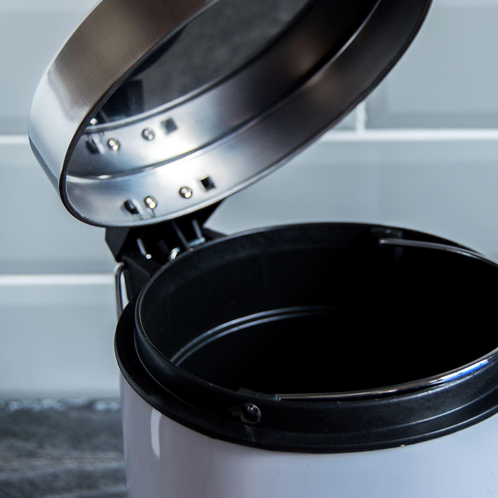 Pedal Bin 3L or 30L Bathroom Waste Kitchen Rubbish Black White ...