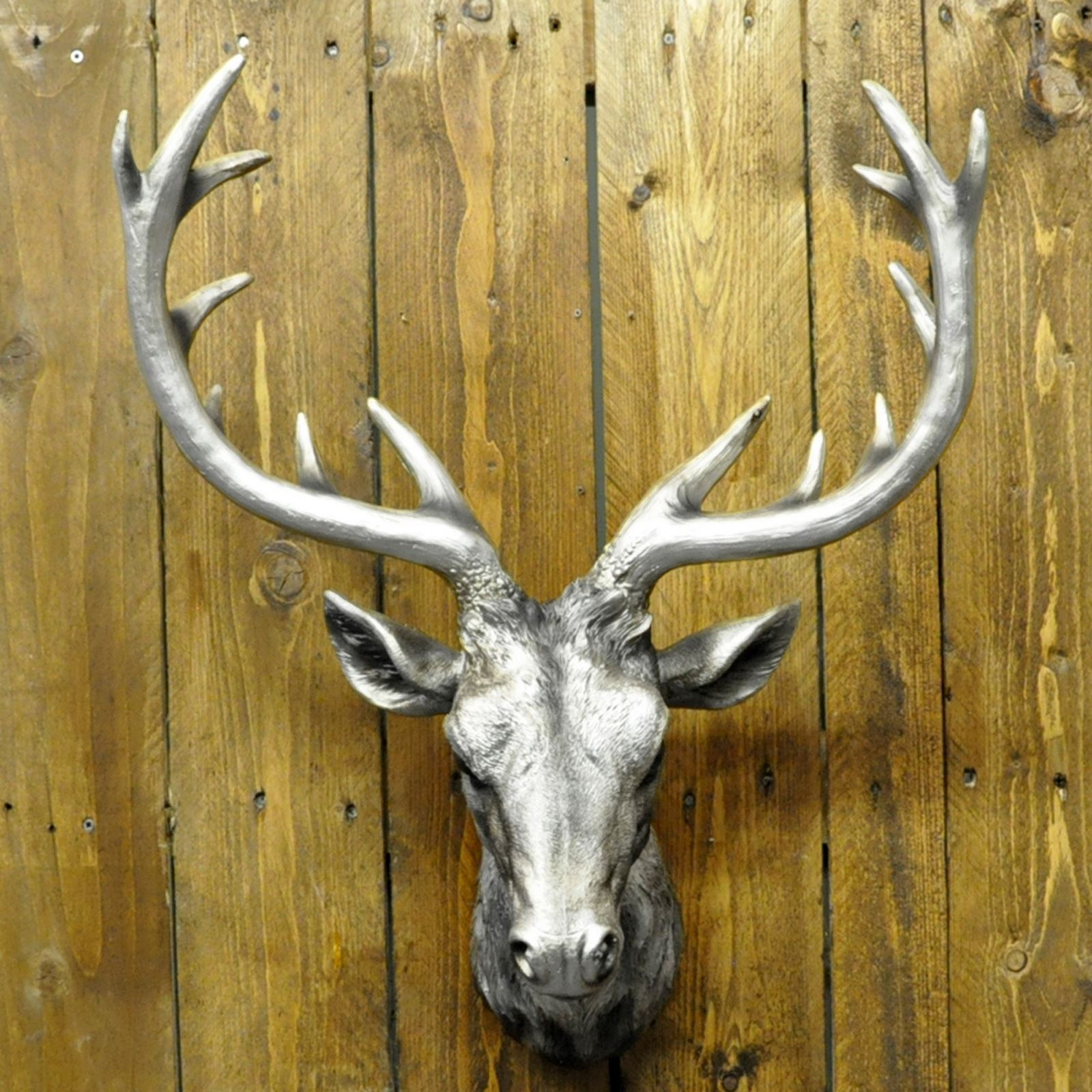 Stag Head Deer Antlers Hunting Hunter Trophy Wall Mountable Bronze ...