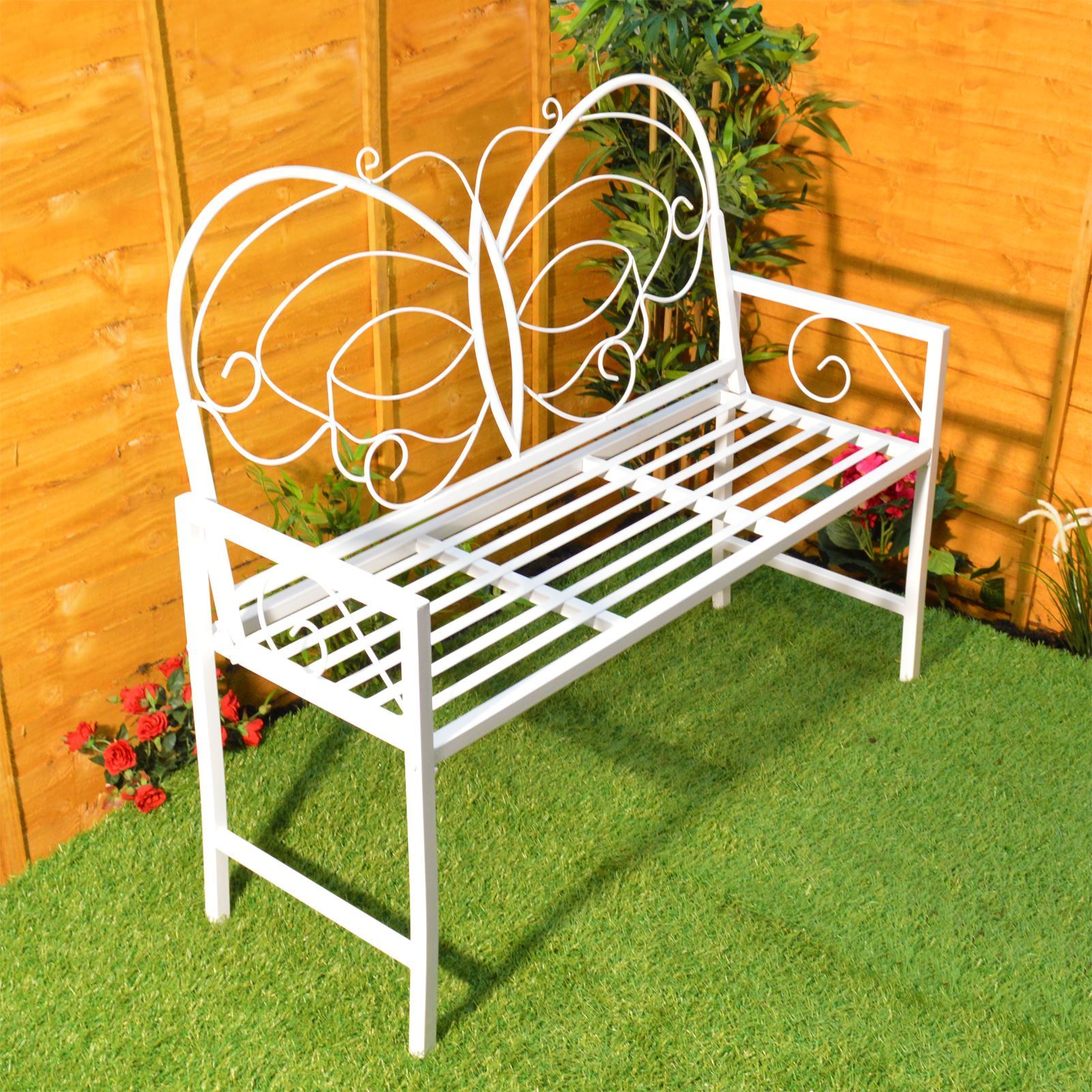 Butterfly Garden Bench Metal Patio Furniture Seat Outdoor Decorative ...