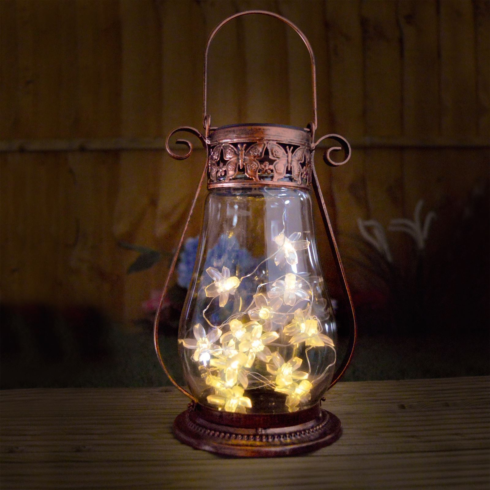Solar Garden Lantern Copper Glass Tabletop Hanging Fairy Lights ...